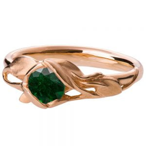 Leaves Engagement Ring #6 Rose Gold and Emerald Catalogue