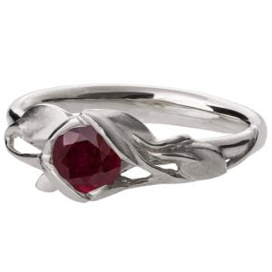 Leaves Engagement Ring #6 White Gold and Ruby Catalogue