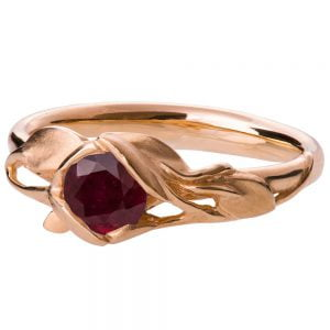 Leaves Engagement Ring #6 Rose Gold and Ruby Catalogue
