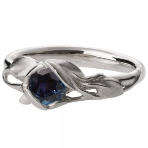 Leaves Engagement Ring #6 White Gold and Sapphire Catalogue