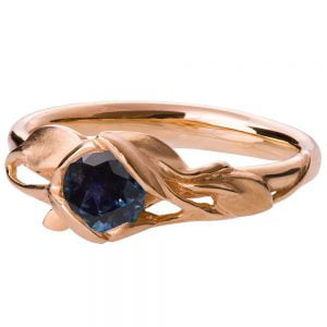 Leaves Engagement Ring #6 Rose Gold and Sapphire Catalogue