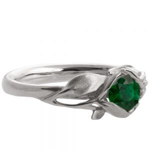 Leaves Engagement Ring #6 White Gold and Emerald Catalogue
