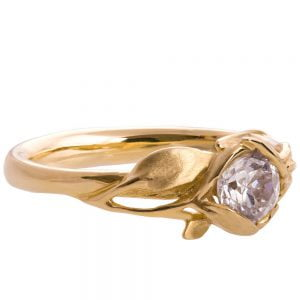 Leaves Engagement Ring #6 Yellow Gold and Moissanite Catalogue