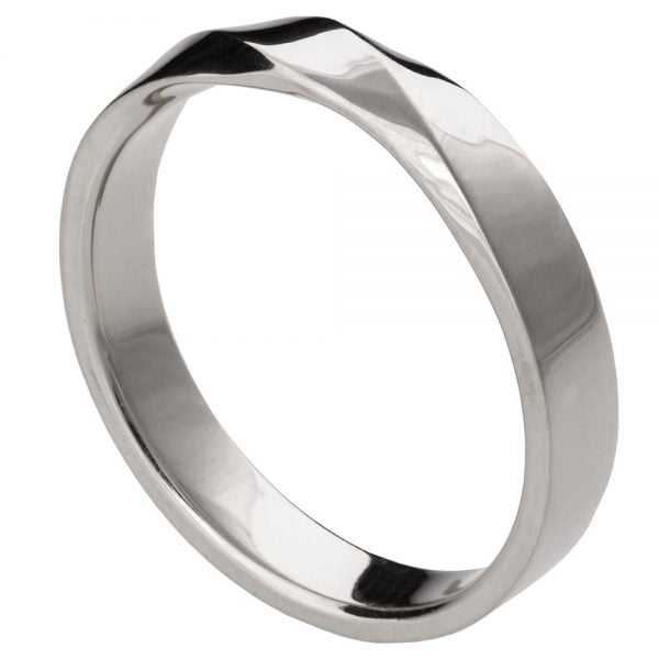 White Gold Wide Mobius Wedding Band