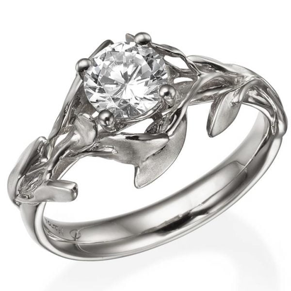 White Gold Leaves Engagement Ring