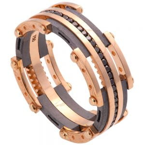 Men's Wedding Band Rose Gold and Black Diamonds BNG3D Catalogue