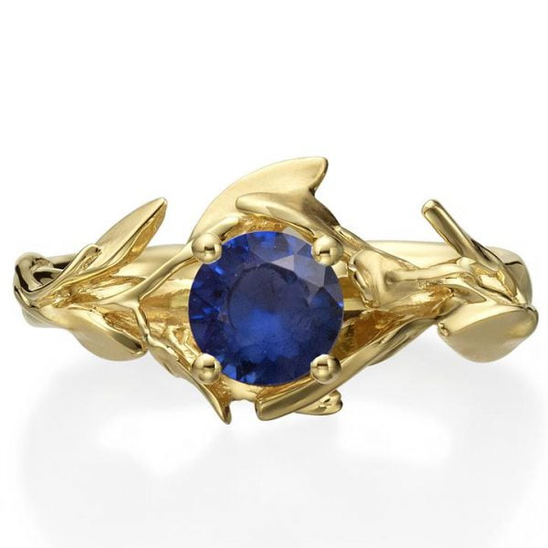 Leaves Engagement Ring #4 Yellow Gold and Sapphire Catalogue