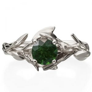 Leaves Engagement Ring #4 White Gold and Emerald Catalogue