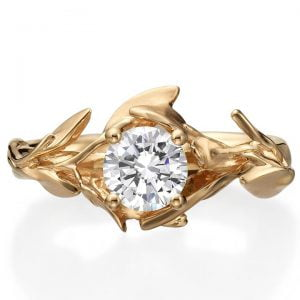 Rose Gold Leaves Engagement Ring