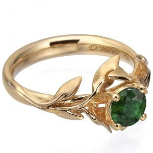 Leaves Engagement Ring #4 Rose Gold and Emerald Catalogue