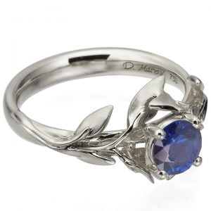 Leaves Engagement Ring #4 Platinum and Sapphire Catalogue