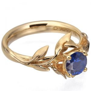 Leaves Engagement Ring #4 Rose Gold and Sapphire Catalogue