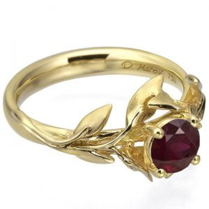 Leaves Engagement Ring #4 Yellow Gold and Ruby Catalogue