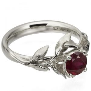 Leaves Engagement Ring #4 White Gold and Ruby Catalogue