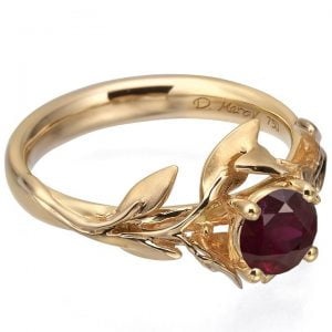 Leaves Engagement Ring #4 Rose Gold and Ruby Catalogue