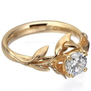 Leaves Engagement Ring Rose Gold and Diamond