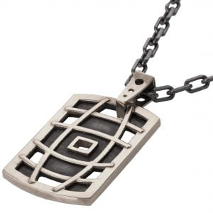 White Gold Men's Dog Tag Pendant