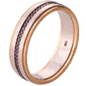 Men's Wedding Band Yellow Gold and Black Diamonds BNG18 Catalogue