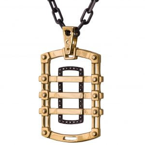 Men's Dog Tag Pendant Black Diamonds Yellow Gold 2 Catalogue