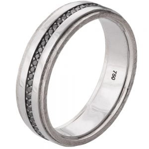 Men's Wedding Band White Gold and Black Diamonds BNG18 Catalogue