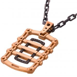 Men's Dog Tag Pendant Black Diamonds Rose Gold 2 Catalogue