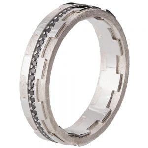 Men's Wedding Band White Gold and Black Diamonds BNG18B Catalogue
