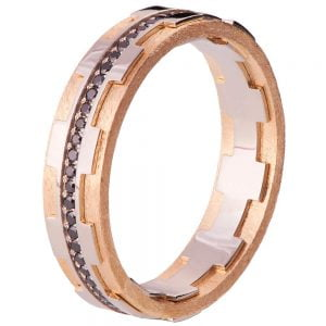 Men's Wedding Band Rose Gold and Black Diamonds BNG18B Catalogue