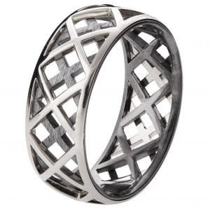 Men's Wedding Band White Gold Grid 5 Catalogue