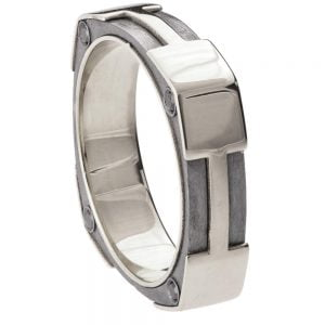 Men's Wedding Band White Gold and Black Diamonds BNG20 Catalogue
