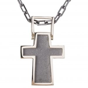 White Gold Men's Cross Pendant