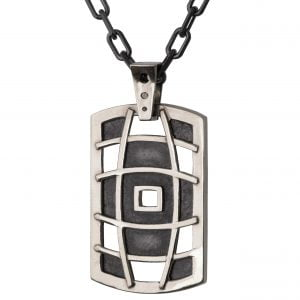 Men's Dog Tag Pendant White Gold