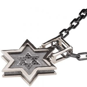 Men's Pendant White Gold and Black Diamonds Star of David Catalogue
