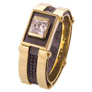 Men's Signet Ring Yellow Gold and Moissanite BNG15 Catalogue