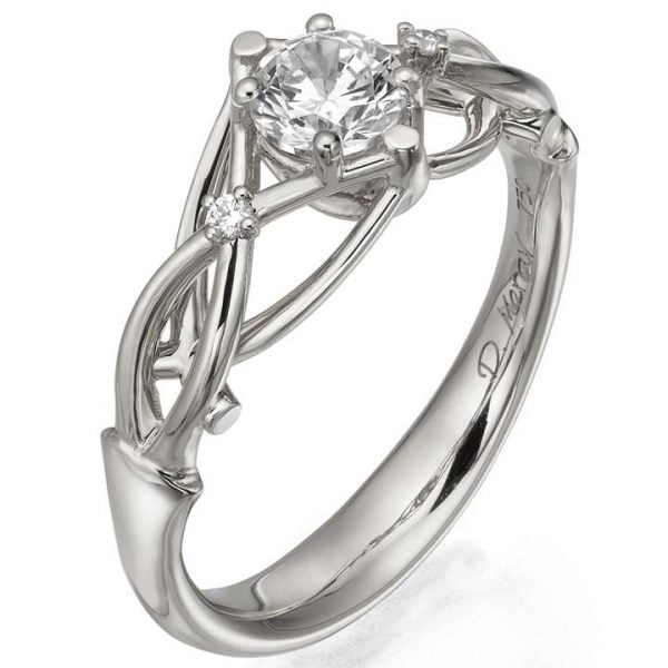 Celtic Engagement Ring White Gold and Moissanite