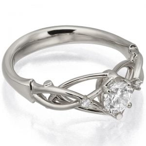Moissanite Celtic Engagement Ring White Gold and