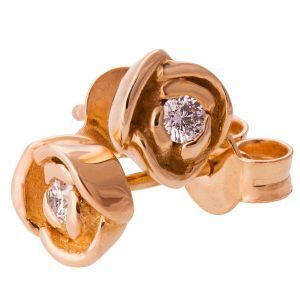 Rose Earrings Rose Gold and Diamonds Catalogue
