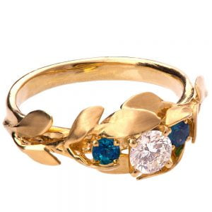 Leaves Engagement Ring #8 Yellow Gold and Moissanite and Sapphires Catalogue