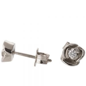 Rose Earrings Platinum and Diamonds Catalogue