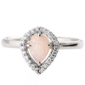Halo Opal Engagement Ring Platinum Catalogue