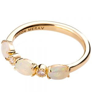 Rose Gold Opal Half Eternity Ring