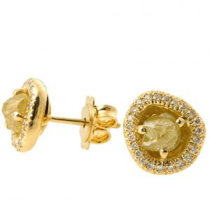 Raw Diamond Earrings Yellow Gold Catalogue