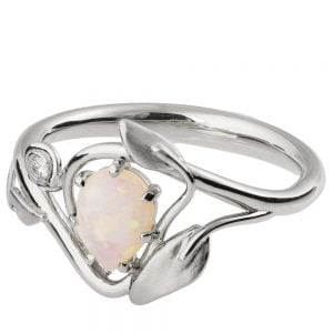 Leaves Opal Engagement Ring Platinum