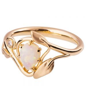 Leaves Opal Engagement Ring Rose Gold