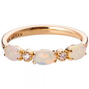 Rose Gold Opal and Diamonds Half Eternity Ring