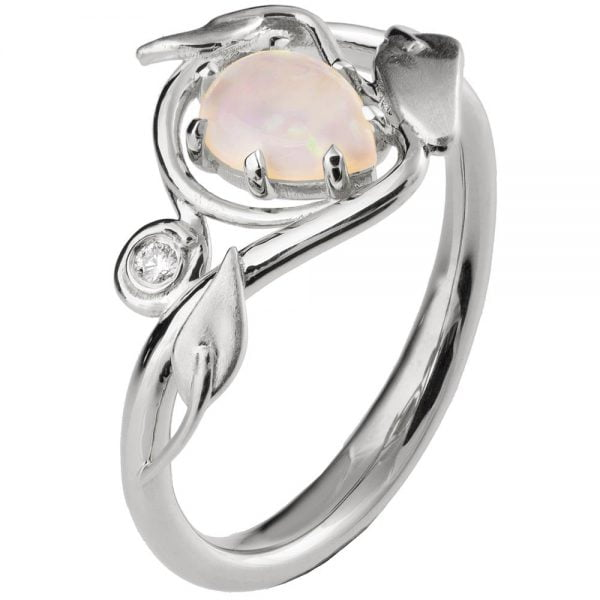Platinum Leaves Opal Engagement Ring