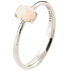 Solitaire Opal Engagement Ring White Gold