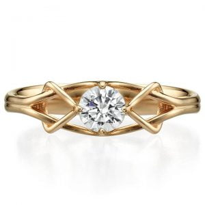 Moissanite Celtic Engagement Ring Rose Gold