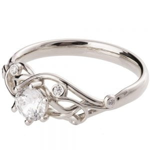 Moissanite Knot Engagement Ring White Gold