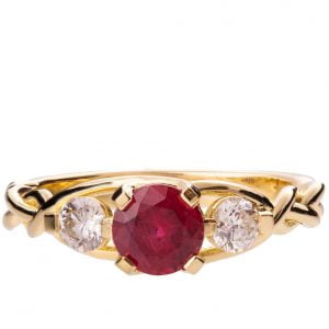 Braided Three Stone Engagement Ring Yellow Gold and Ruby 7 Catalogue