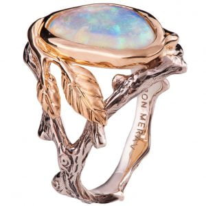Twig and Leaf Opal Engagement Ring Rose Gold 8 Catalogue